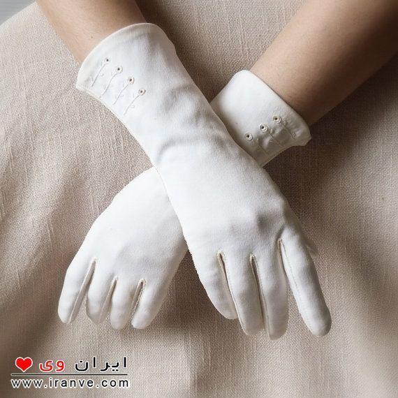 دستکش سفید مدل عروس