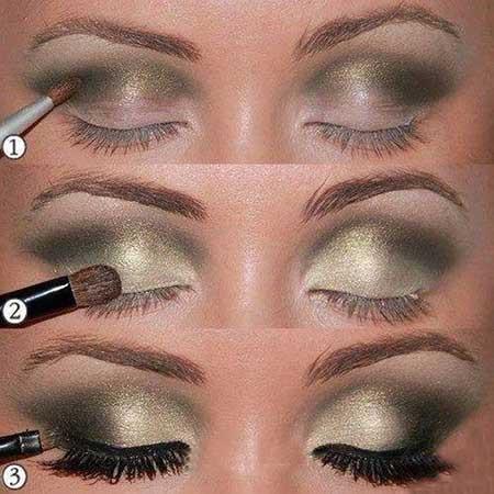 آموزش تصویری آرایش چشم طلایی