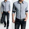 Shirts-fashion-Long-sleeve-Plaids-Mens-Shirt-Cotton-Slim-Fit-shirts-Free-shipping-light-gray-Size