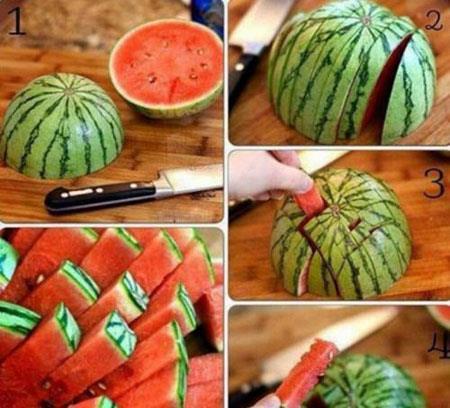 برش درست هندوانه,بهترین نوع برش هندوانه