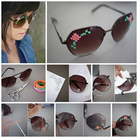 تزیین عینک آفتابی با سنگ های ساده, تزیین زیبای عینک با گل های ساده