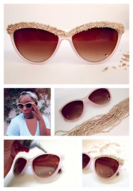 مدل طرح های ساده روی عینک آفتابی, تزیین عینک آفتابی با سنگ های ساده