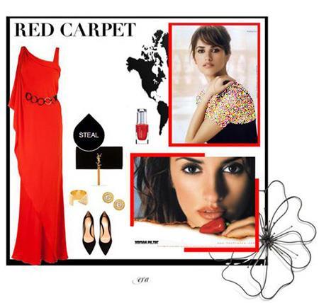 ست کردن با لباس قرمز به سبک پنه لوپه کروز,ست کردن لباس شب قرمز