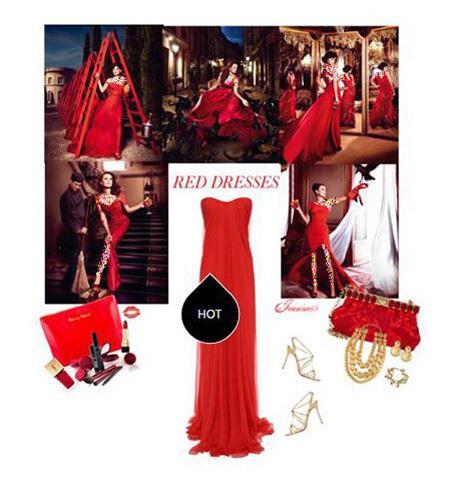 ست کردن لباس شب به رنگ قرمز,ست کردن لباس شب به سبک پنه لوپه کروز