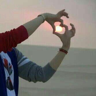 عکس عاشقانه پروفایل قلب و غروب آفتاب دریا
