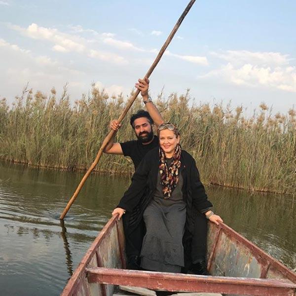 قایق سواری بهاره رهنما با شوهرش
