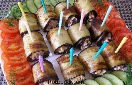 رولت بادمجان,طرز تهیه رولت بادمجان با گوشت,آموزش رولت بادمجان با مرغ