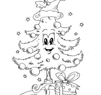 outline picture of christmas tree