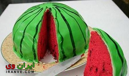 عکس های کیک شب یلدا برای عروس، تصاویر تزیین کیکهای مخصوص به صورت هندوانه
