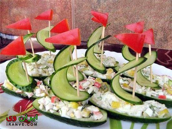 خیار برای تزیین میوه شب یلدا