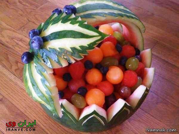 درست کردن هندوانه به شکل سبد پر از میوه