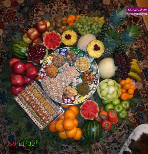 تزیین میوه شب یلدا در داخل سینی و سبد