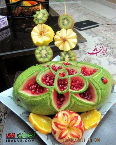 تزیین میوه شب یلدا با استفاده از هندوانه و دانه های انار