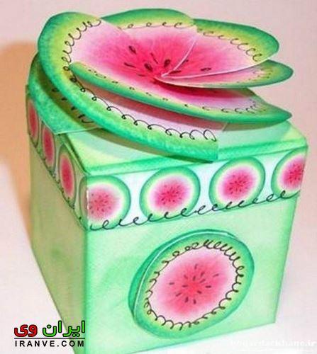 کاردستی شب یلدا جعبه هدیه هندوانه ای