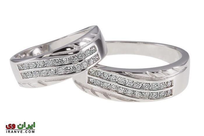 حلقه ازدواج از جنس نقره با نگین برلیان