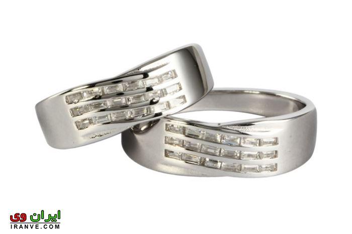 حلقه ازدواج از جنس نقره با نگین های طرح برلیان ارزان قیمت