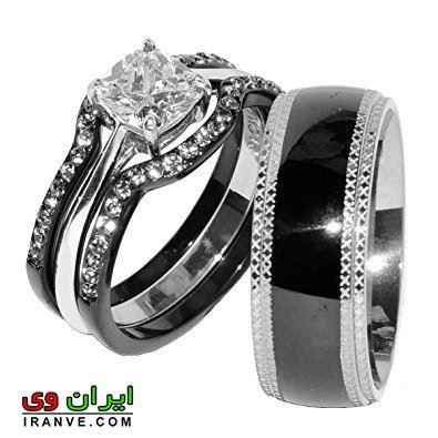 حلقه ازدواج سیاه و نقره ای ست عروس و داماد