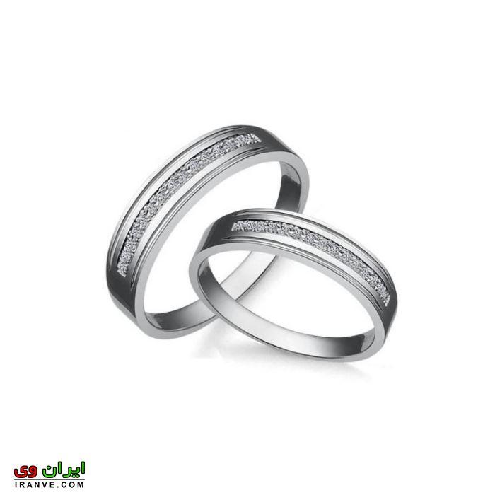 مدل حلقه ازدواج دارای نگین های زیبا و ریز