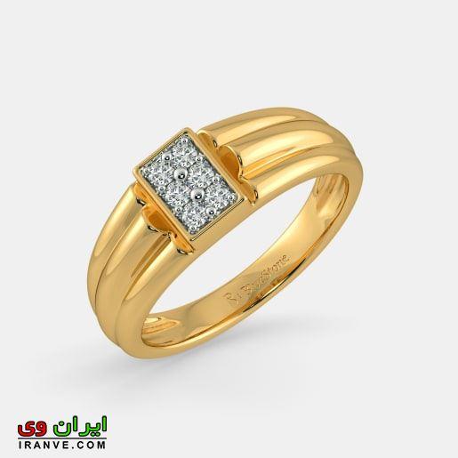 حلقه های طلایی رنگ با نگین های کار شده از جنس طلا