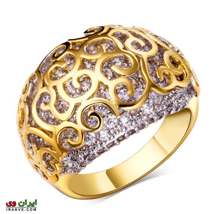 حلقه نامزدی بسیار درشت طرح دار از جنس طلا