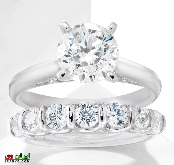 ست حلقه ازدواج و نامزدی با نگین های برلیان و فلز پلاتین یا همان پلاتینیوم