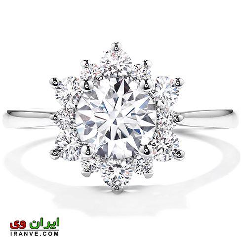 مدل جدید حلقه ازدواج و نامزدی طرح گل و غنچه ساخته شده از برلیان