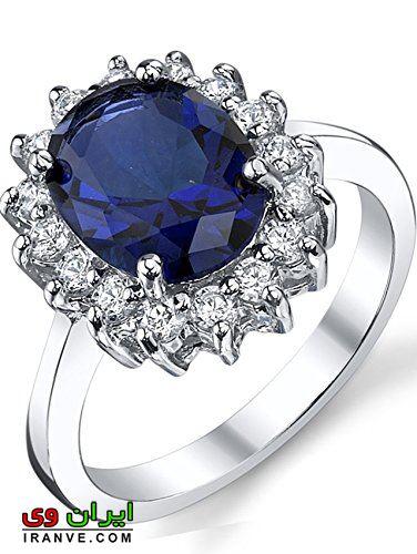 حلقه با نگین برلیان آبی (یاقوت) به رنگ یاقوتی