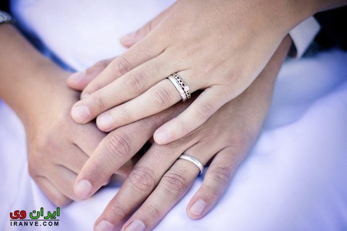 عکس دست عروس و داماد در عروسی با حلقه