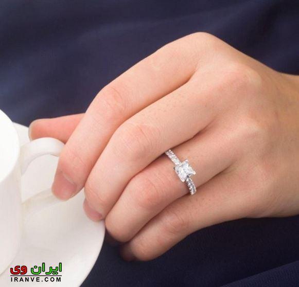 حلقه ازدواج در دست عروس با نگین برلیان