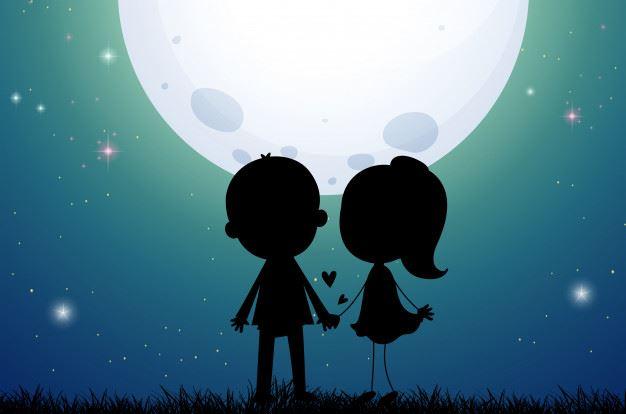عکس پروفایل عاشقانه دخترونه پسرونه در شب زیر نور ماه