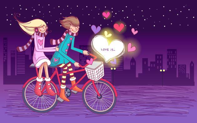 پروفایل زیبای عاشقانه دختر و پسر درحال دوچرخه سواری در شب پر ستاره فانتزی