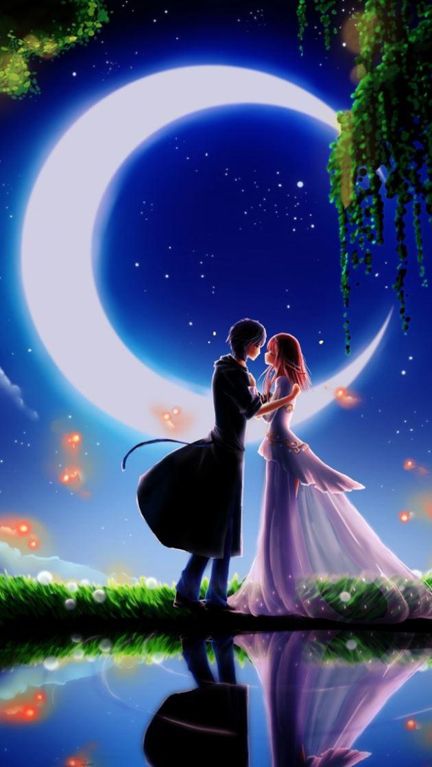 عکس عاشقانه کارتونی در شب کنار برکه با نور ماه