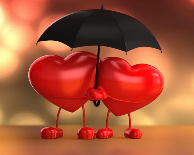 عکس پروفایل عاشقانه دوتا قلب قرمز با چتر