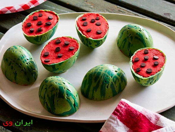 کیک یلدا انار قرمز , کیک شب یلدا به شکل هندوانه