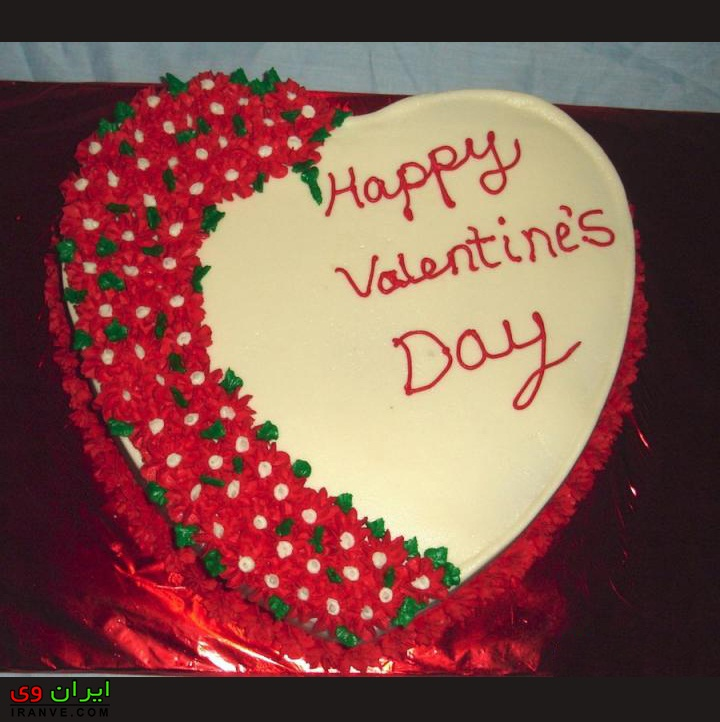 عکس کیک ولنتاین مبارک عاشقانه دونفره