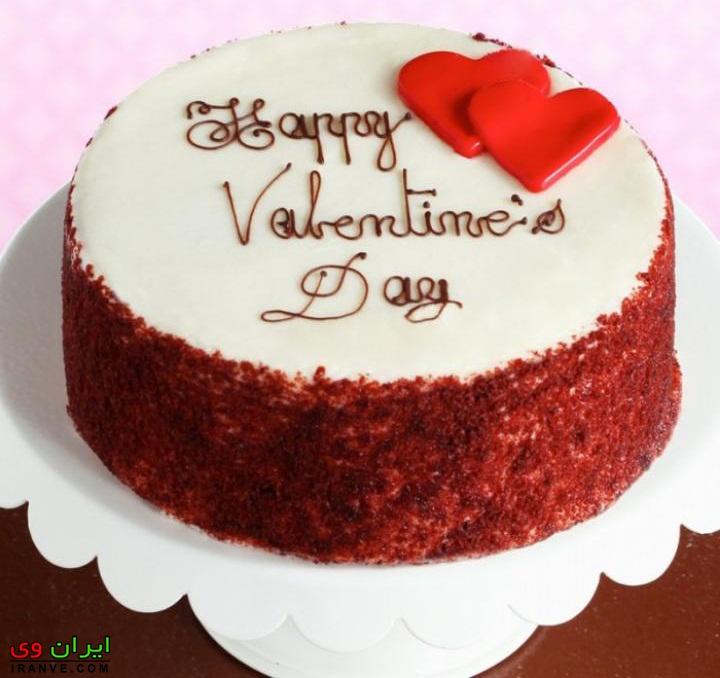 کیک ولنتاین مبارک سفید دور شکلاتی