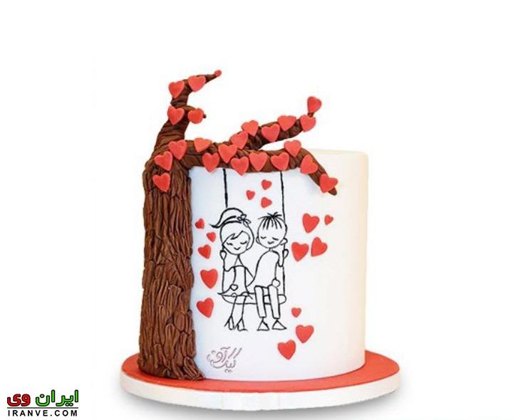 عکس کیک ولنتاین سفید با عکس دختر و پسر عاشقانه