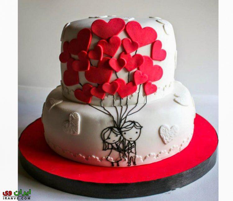 عکس کیک ولنتاین دوطبقه عشقولانه