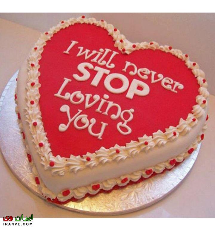عکس کیک ولنتاین قلب سفید قرمز