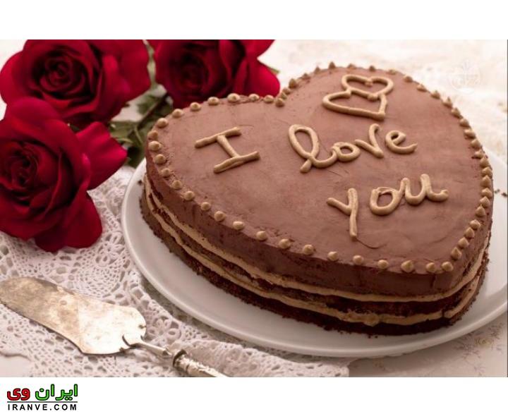 عکس کیک ولنتاین شکلاتی قلبی
