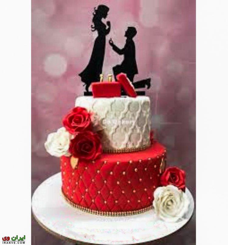 عکس کیک ولنتاین دو طبقه برای خاستگاری و حلقه ازدواج