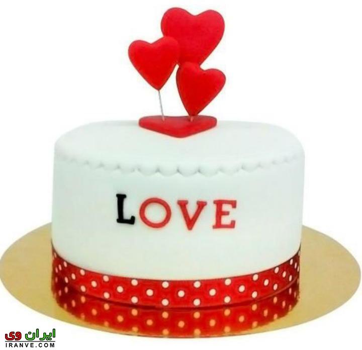 عکس کیک ولنتاین کیک سفید ساده دو نفره