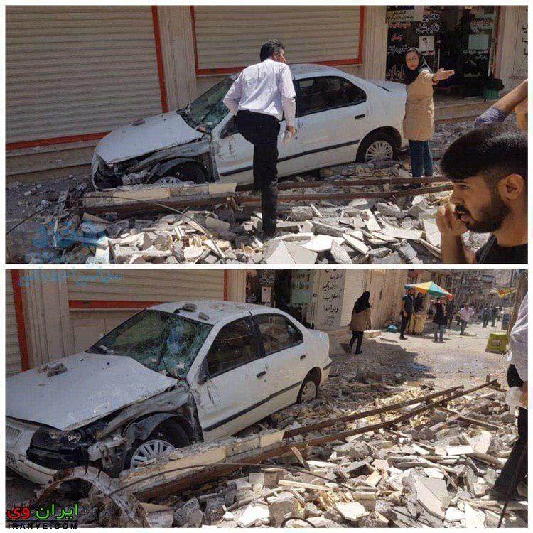 عکس زلزله مسجد سلیمان خسارات به خانه و ماشین