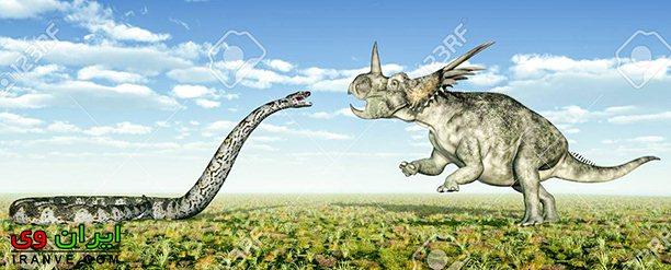 مقایسه ابعاد بزرگترین مار دنیا تیتانوبوآ با یک دایناسور