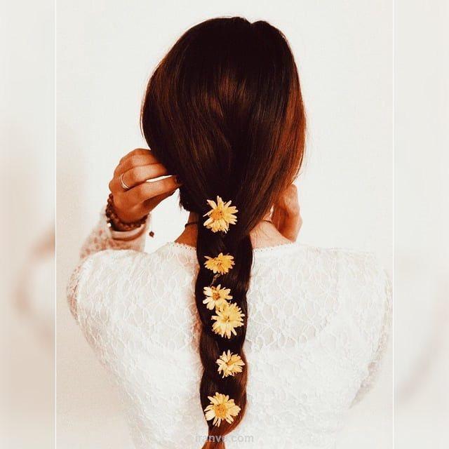 پروفایل دخترونه عکس از پشت سر با مو های دم اسبی گل دار