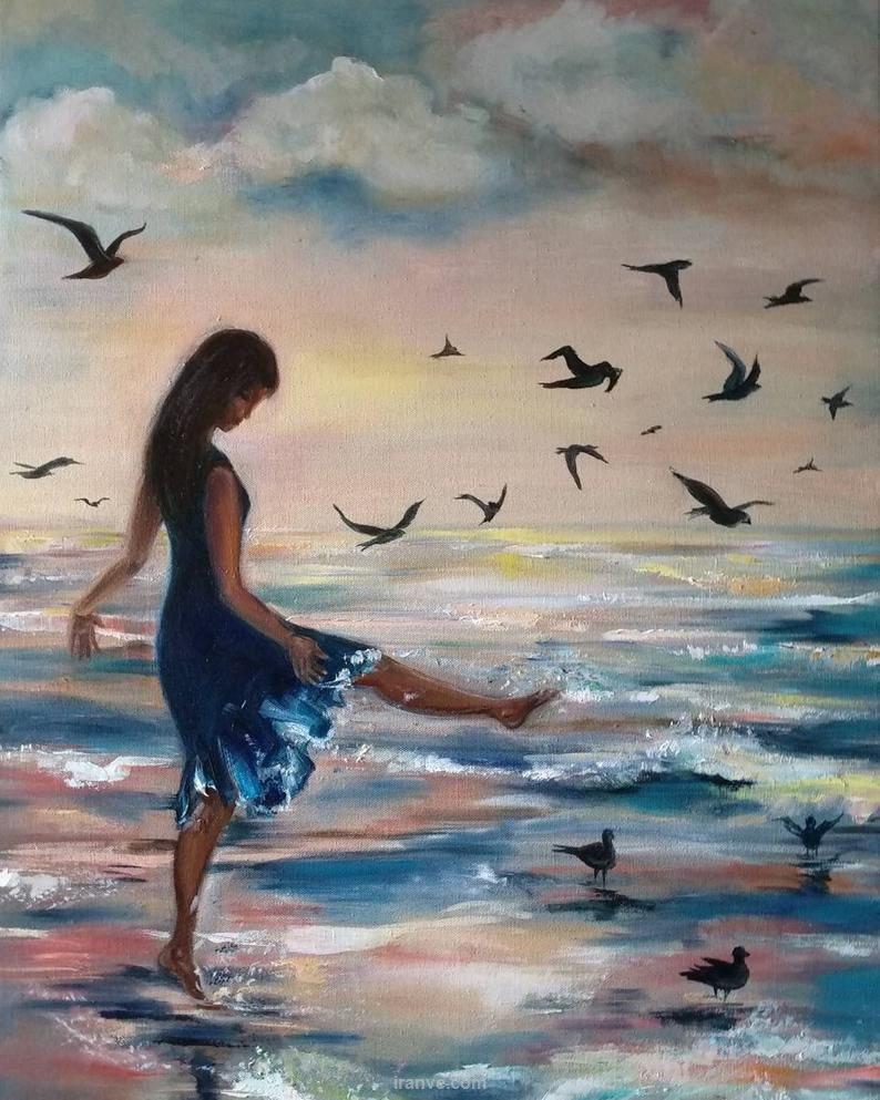پروفایل دخترونه نقاشی لب ساحل با پرنده های دریایی