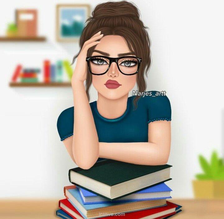 پروفایل دخترونه دختر درسخون با کلی کتاب موقع امتحان