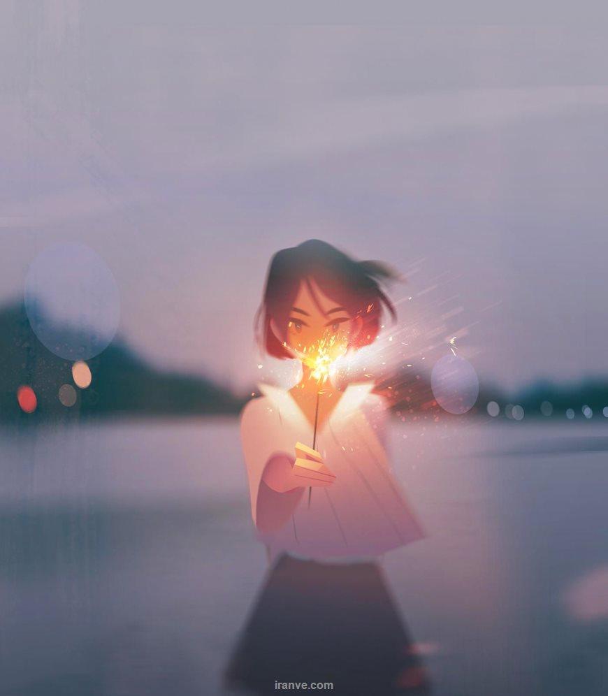 پروفایل دخترونه فوق العاده زیبا دختری که در تاریکی شب فش فشه روشن کرده در حالی که باد می وزد