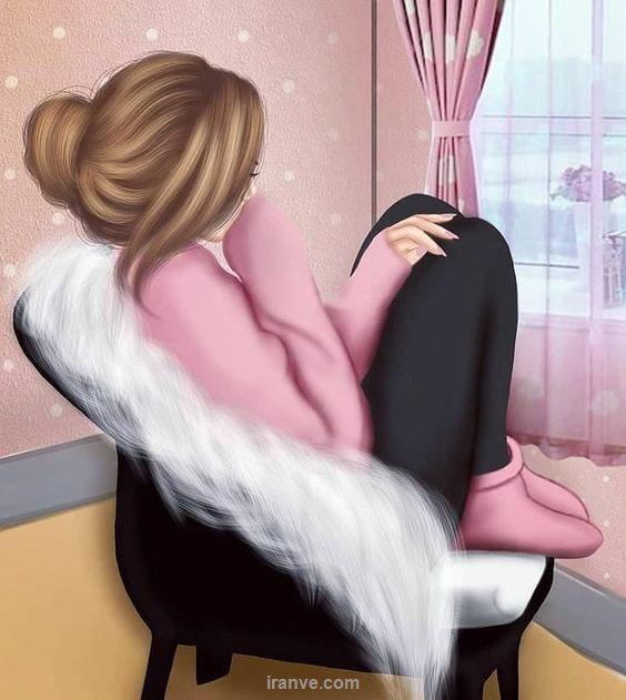 عکس دخترونه نشسته روی صندلی