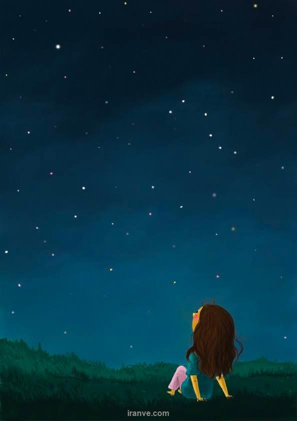 عکس پروفایل دخترونه عاشقانه نشسته روی چمن در زیر آسمان پر ستاره شب
